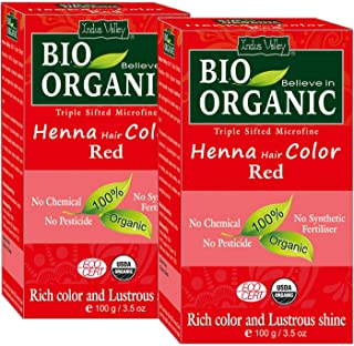 Indus Valley Bio Organic Micro fine Triple Shifted Premixed Henna Hair color with Organic Indigo for Rich Color & Lustrous Shine (Red -Twin Pack) 200 gm