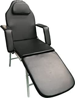3 Fold Portable Tattoo Facial Bed Beauty Salon Massage Table Chair w/Free Carrying Case (BLACK)
