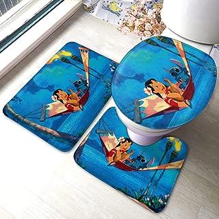 Lilo Stitch Bath Mat 3 Piece Set Bathroom Carpet Set Soft Anti-Skid Pads Bath Mat + Contour Pads + Toilet Lid Cover, Absorbent Carpet Bath and Mat Anti-Slip Pads Set
