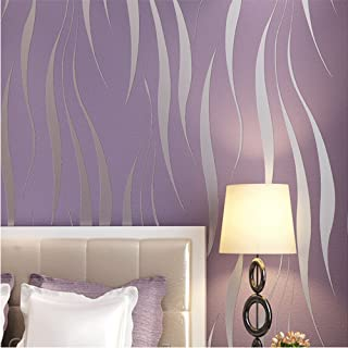 QIHANG 3D Stereoscopic Simple Striped Grass Leaf Thick Flocking Wallpaper Purple Color 0.53m x 10m=5.3m2