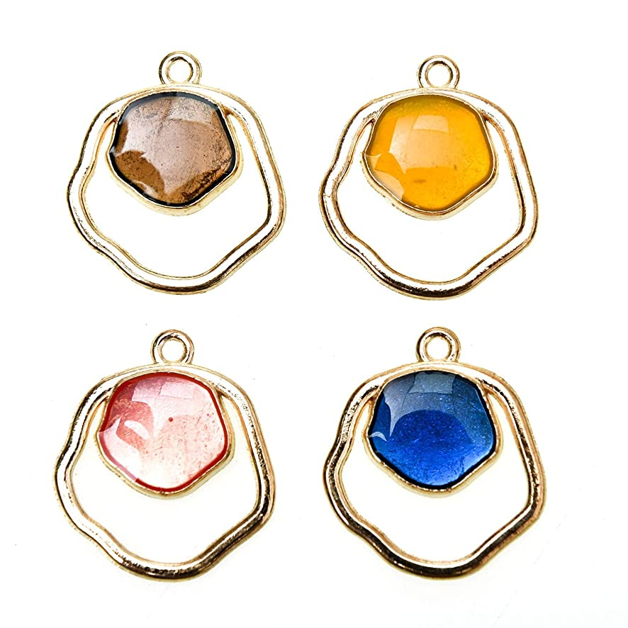 Monrocco 40 Pack Geometric Enamel Pentagon Charm 4 Color Gold Plated Alloy Lovely Jewelry Making Supplies, 23x20mm