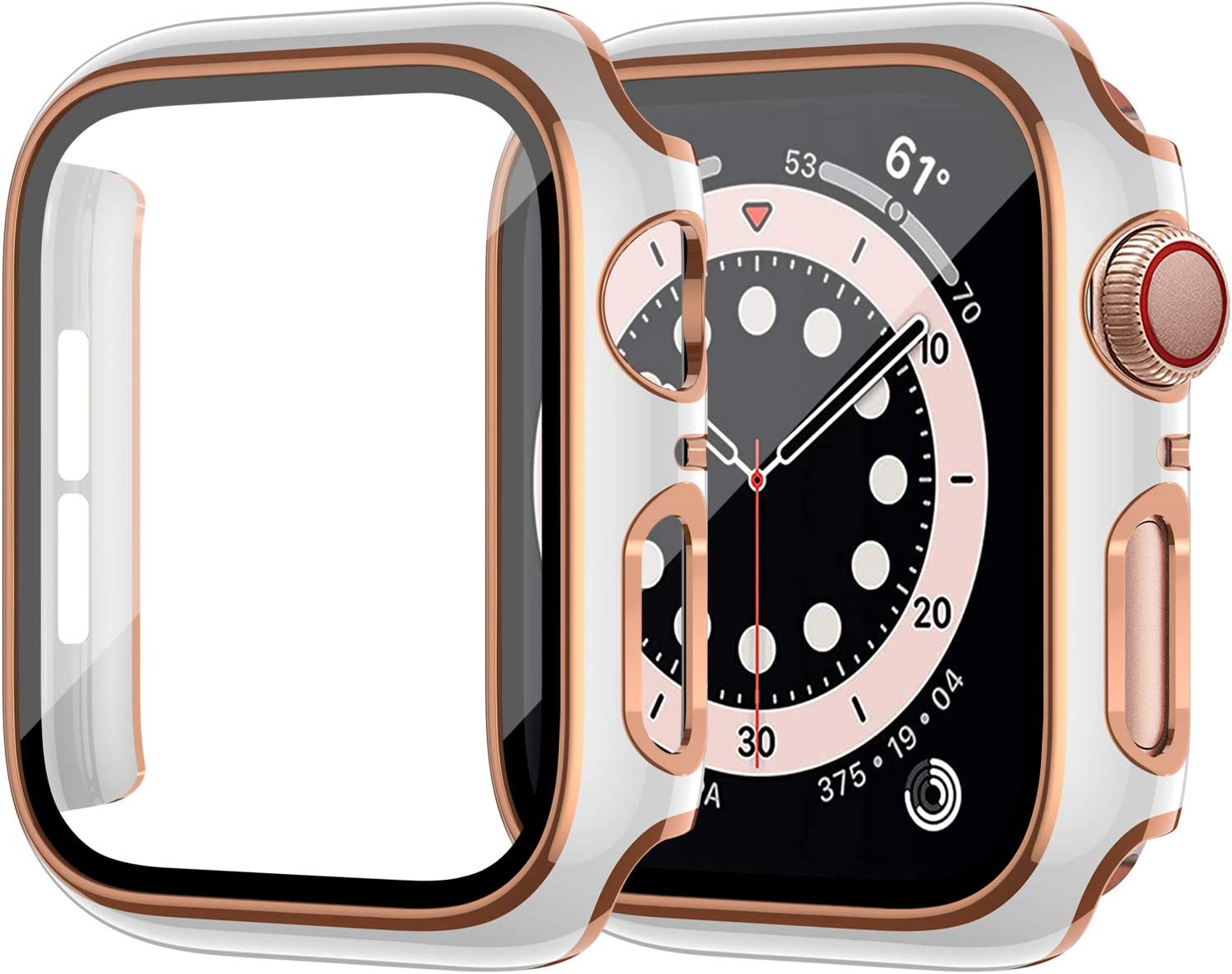 ZEBRE Hard PC Case Compatible with Apple Watch Series 6/5/4/SE 40mm, Built-in Tempered Glass Screen Protector, Rose Gold Edge White Bumper Full Coverage HD Clear Cover for Women Men, White/Rose Gold