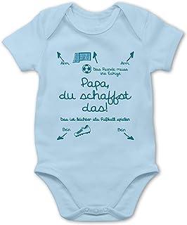 Shirtracer - Strampler Motive - Papa du schaffst das Fußball Junge - Baby Body Kurzarm für Jungen und Mädchen