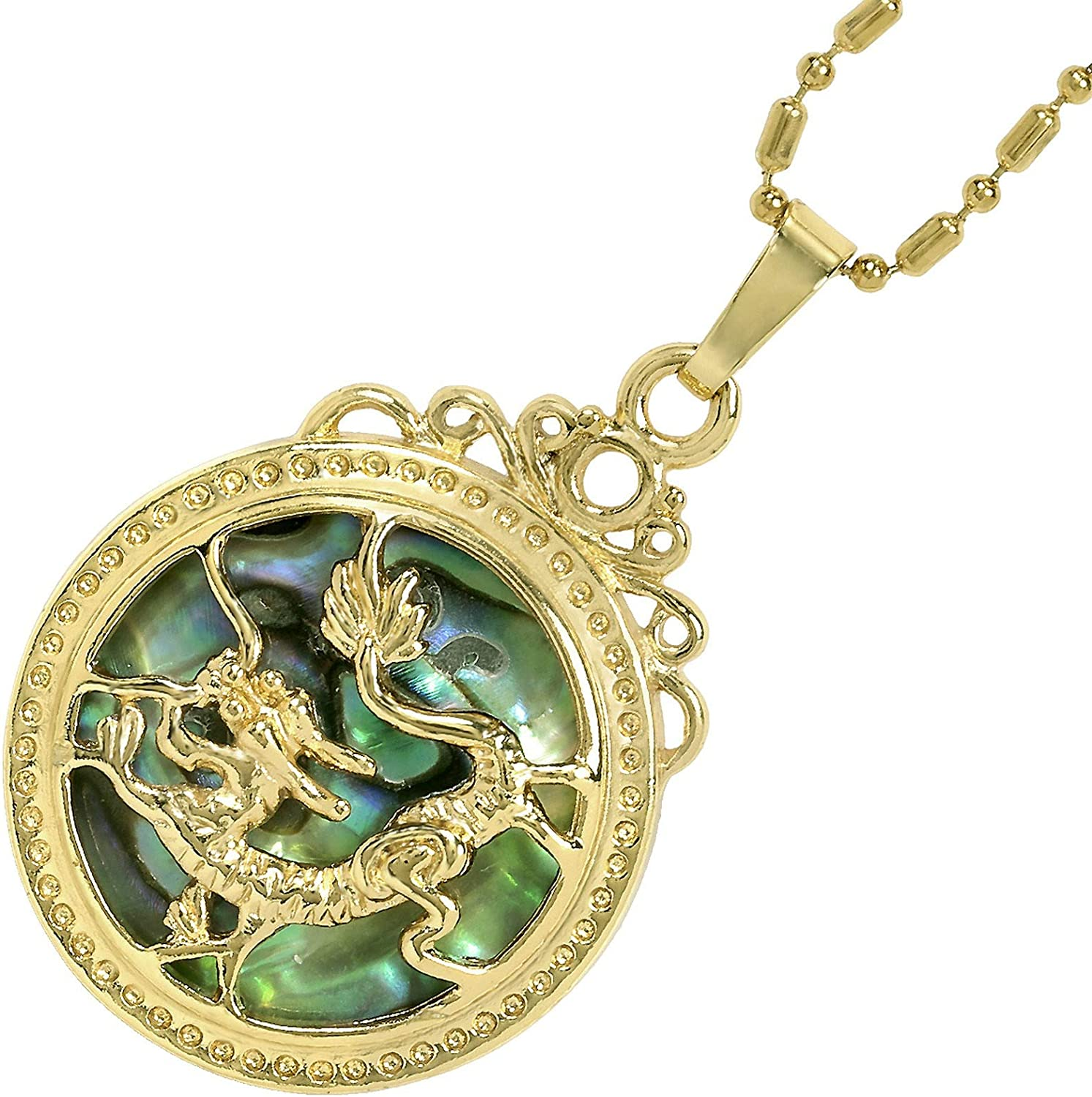 Yatming Gold Plated Round Abalone Shell Pendent Necklaces for Women and Men