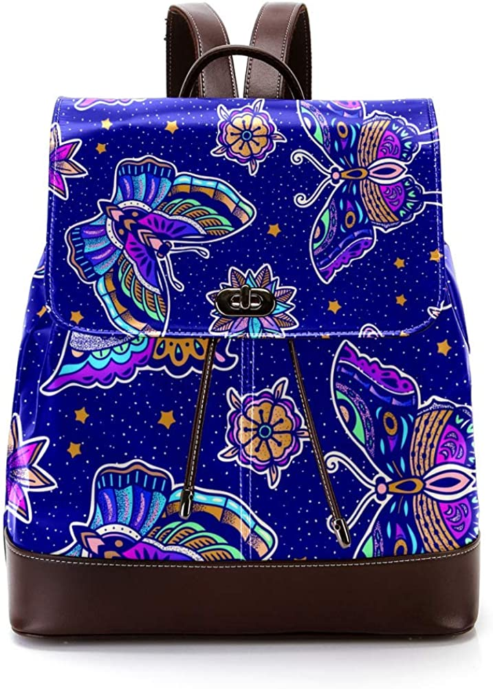 Colorful Butterflies And Flowers PU Leather Backpack Fashion Shoulder Bag Rucksack Travel Bag for Women Girls