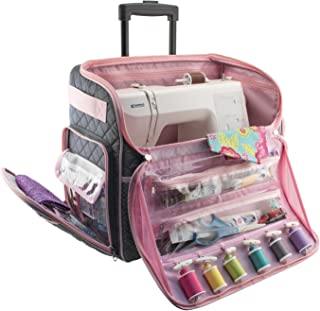 Everything Mary Deluxe Quilted Pink and Grey Rolling Sewing Machine Tote - Sewing Machine Case Fits Most Brother & Singer ...