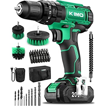 "KIMO Cordless Drill Driver Kit, 20V Impact Drill Set w/Lithium-ion Battery/Charger & Cleaning Brush, 350 In-lb Torque, 3/8"" Keyless Chuck, 21+1+1 Clutch, Variable Speed & LED for Metal Concrete Wood"