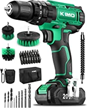 KIMO Cordless Drill Driver Kit, 20V Impact Drill Set w/Lithium-ion Battery/Charger & Cleaning Brush, 350 In-lb Torque, 3/8...