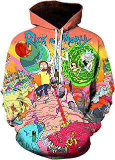 Chaos World Felpe con Cappuccio Uomo 3D Funny Cartoon Felpa con Stampa Hoodie Unisex Pullover Sweatshirt (Lotta,4XL(Tag 5XL))