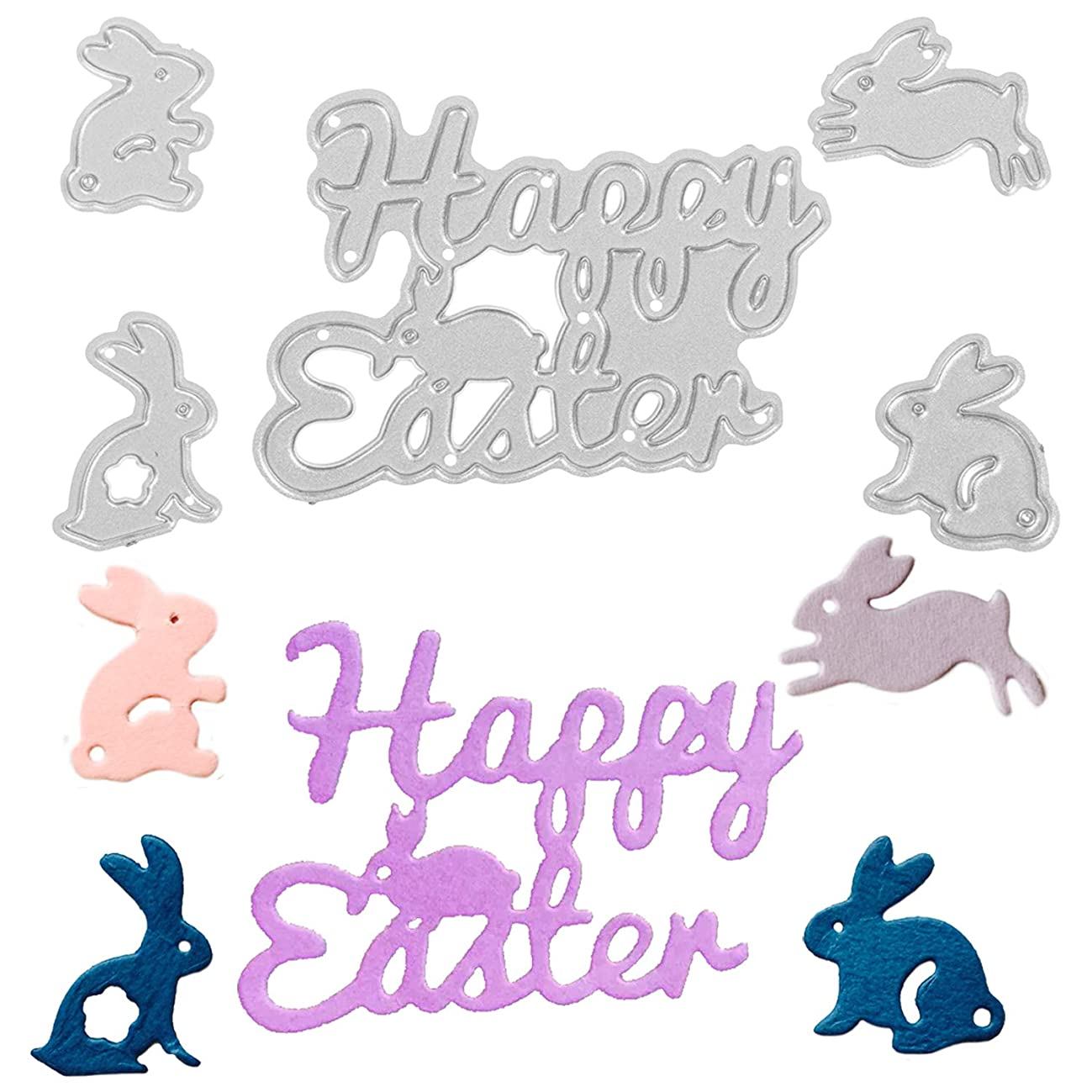 AOPOO Easter Card Dies Metal Cutting Dies Happy Easter and Bunny Rabbit Embossing Stencil for Easter Party DIY Craft Home Decor, 5 Pieces