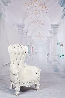 Mini Tiffany Kids Birthday Throne Chair for Children - Prince/Princess Throne Chair for Kids - Party Chair Rentals, Children Photo Shoots, Kids Accent Chair - Gloss White Finish - 37