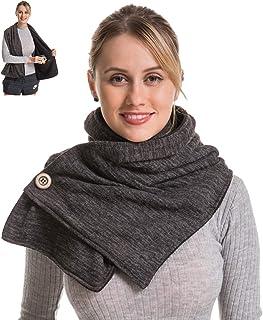 Travel Scarf with 2 Hidden Pocket, Soft Warm Fleece Inside, Fuzzy Fluffy Jersey Outside, Convertible Wrap Scarf