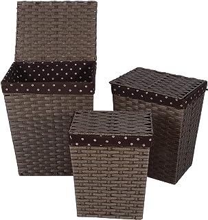 Lot de 3 paniers à linge avec couvercle, panier à linge amovible, carré, grand panier à linge avec doublure en coton amovi...