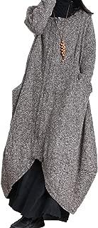 XA6 Women Fashion Long Maxi Tweed Jacket Bud Hemline Full Zip Round Neck Long Sleeve Big Pockets