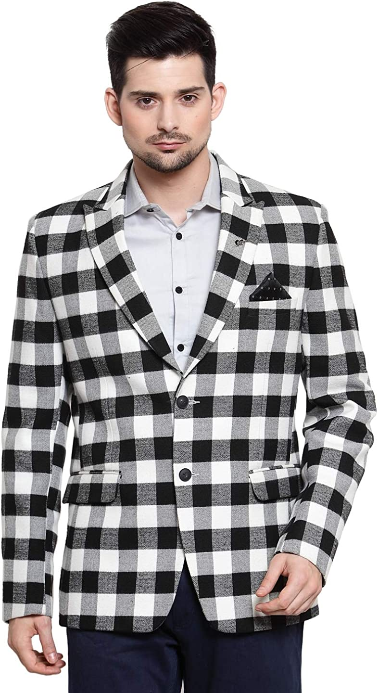 White and Black Gingham Check Blazer Coat Jacket
