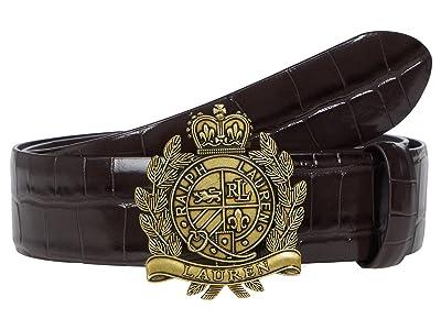 LAUREN Ralph Lauren Large Crocodile Embossed Crest Belt Dress Casual Medium