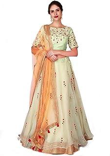 688c564370 Omkar Fab Women's Embroidered Net Cotton Silk Semi-stitched Lehenga Choli  with Blouse Piece (