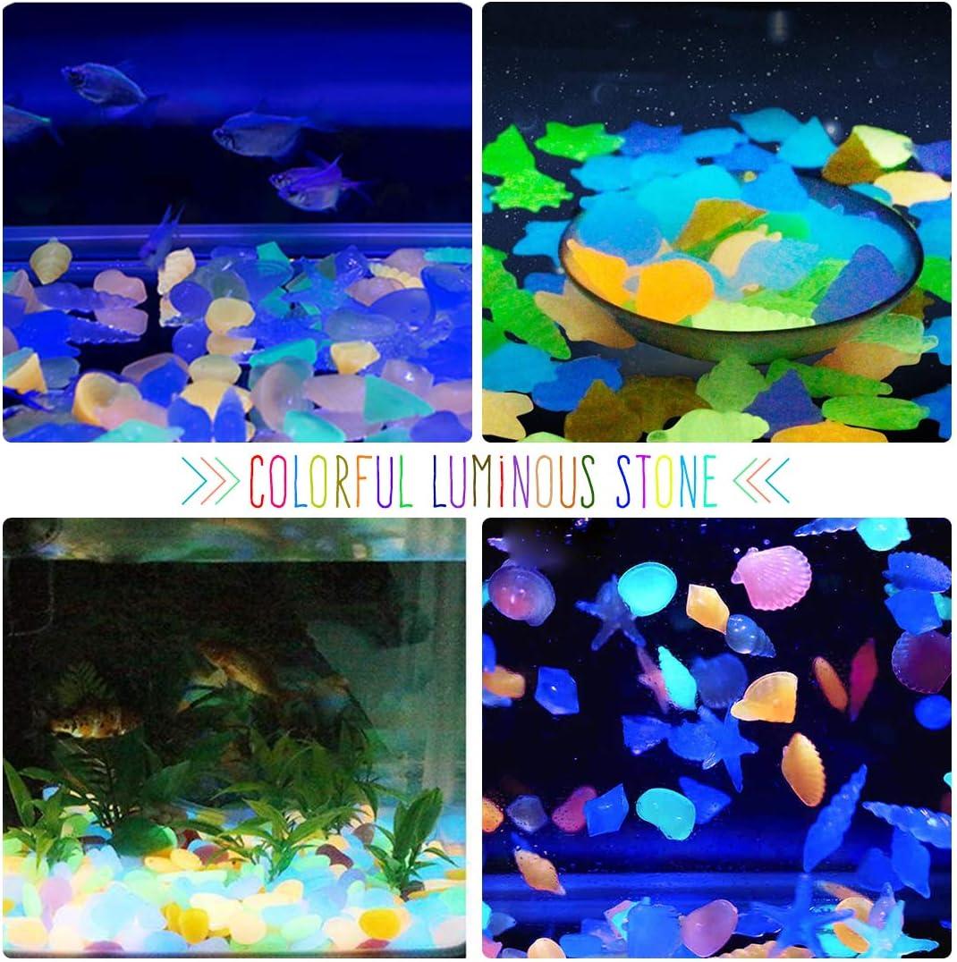 Rocce Colorate Decorazione per Giardino Percorso Cortile Acquario Serbatoio di Pesce Pietre Luminosi Ciottoli luminescenti Pietre Fluorescent Bluelves 220 Pezzi Pietre Luminosi Misto