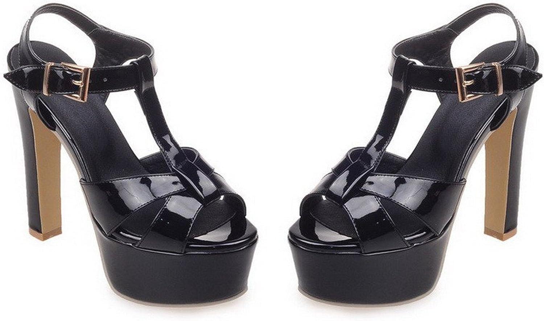 TOGIC Elegant Comfortable Women's Buckle Open Toe High Heels PU Solid Sandals