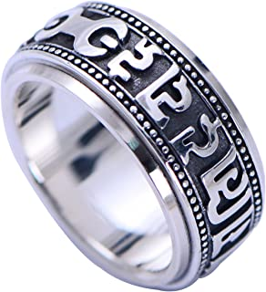 Vintage Real 925 Sterling Silver Buddhist Om Mani Padme Hum Spinner Ring for Men Women Size 6.5-13.5