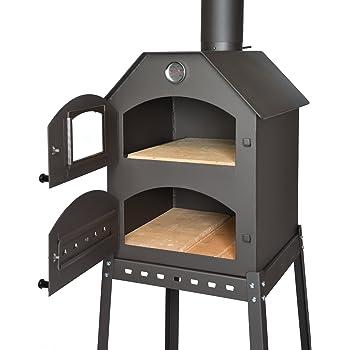acerto 40487 Four à pizza professionnel pour le jardin - 40x53x41 cm * brique réfractaire * thermomètre * vanne d'étranglement | four à pizza avec chambre double | four à gâteau avec grille