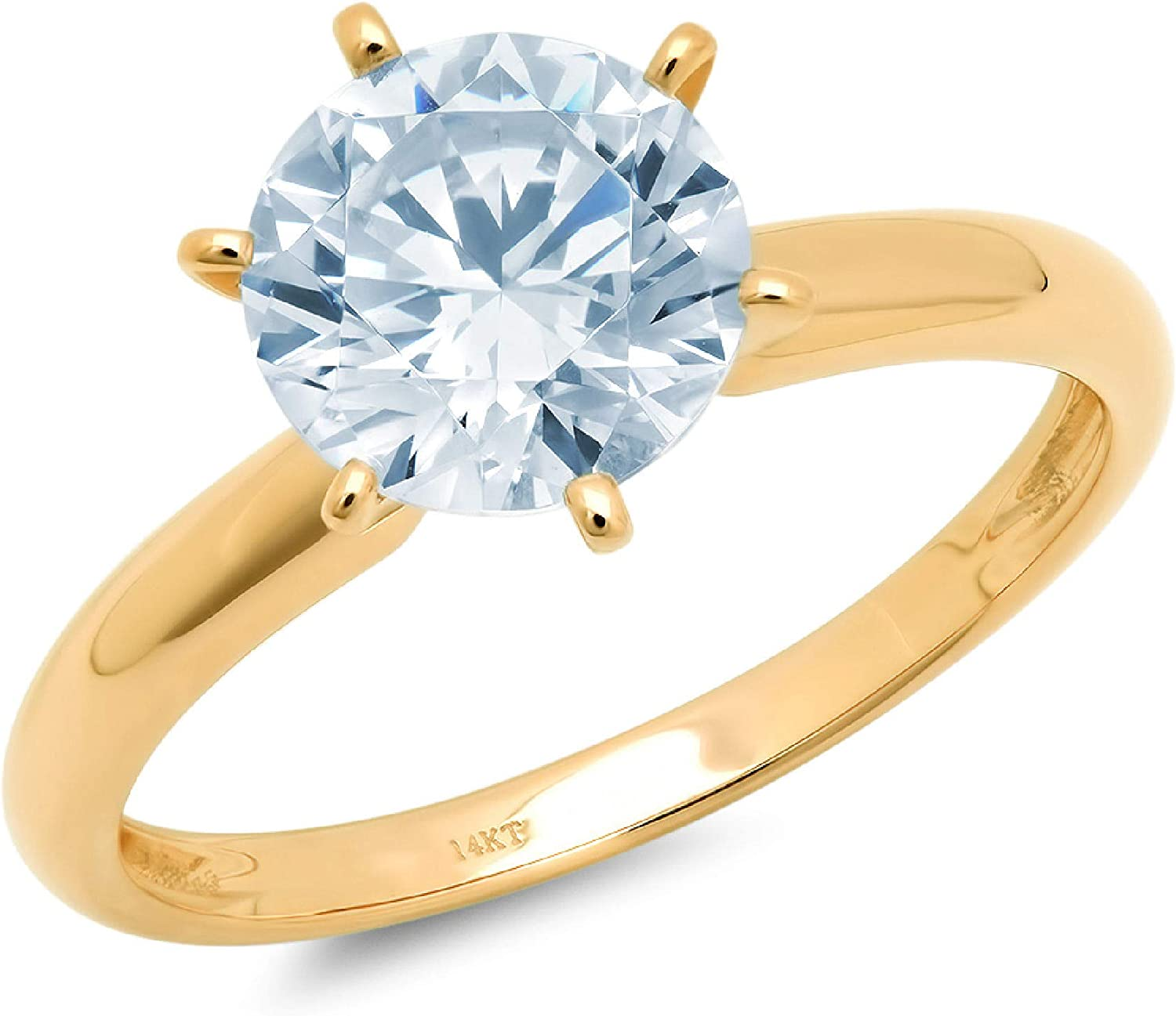 2.0 ct Brilliant Round Cut Solitaire Natural Swiss Blue Topaz Gem Stone Ideal VVS1 6-Prong Engagement Wedding Bridal Promise Anniversary Ring in Solid Real 14k yellow Gold for Women