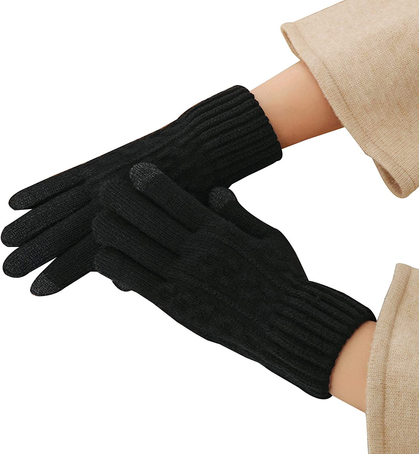 FOLDING Gloves Ladies Winter Knitted Touch Screen Gloves to Keep Warm, Soft Lining, Elastic Cuffs (Color : Black)
