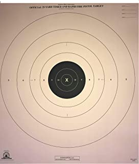 DOMAGRON 25 Yard Times Slow and Rapid Fire Pistol Target Official NRA Target B-8 T (100 Pack)