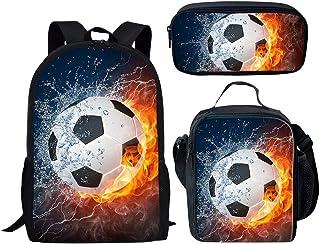 Mochilas infantiles 3D Imprimió Buen fútbol Confort transpirable Kit, Mochila escolar set Mochila Bolsa De Almuerzo Estuche Para Lápices