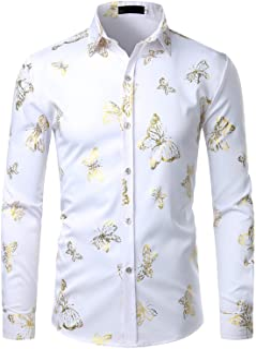 ZEROYAA Men's Gold Fan Print Slim Fit Long Sleeve Dress Shirts/Prom Performing Shirts