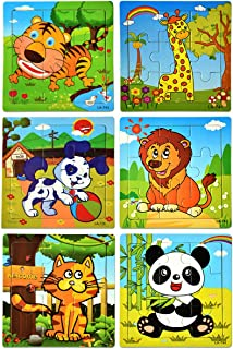 Puzzles Toys for Kids for Age 3-5, 9Pieces Vibrant Wooden Animals, Animals Preschool Puzzles for Toddler Children Learning Educational Puzzle Toys,for Boys and Girls (Set of 6 Puzzles)