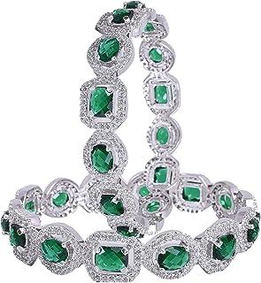 Buy Ratnavali jewels American Diamond Studded Silver Plated Traditional Emerald Green CZ/Diamond Bangles for Women/Girls RV1938GW-2.2 at Amazon.in