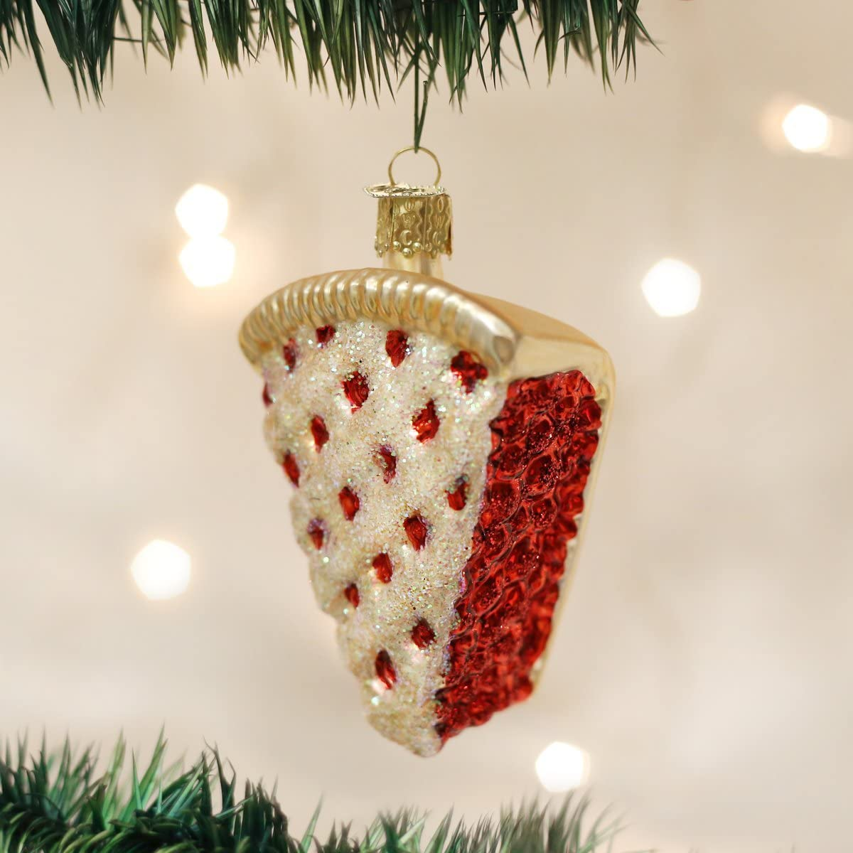Old World Christmas Blueberry Pie Glass Blown Ornament