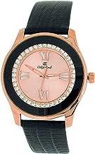 Oskar Emil Ladies Goldtone Stones Pink Dial Black Genuine Leather Strap Watch