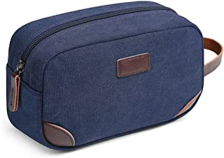 Travel Toiletry Bag, DELFINO Men's Travel Organizer Kit, Shaving Dopp Kit Bathroom Bag, Canvas Toiletry Organizer Bag, Can...