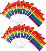 BBTO 20 Piezas de Bandera de Arco Iris de Orgullo de Gay Bandera de LGBT Paz Lesbian para Orgullo Festival Carnival