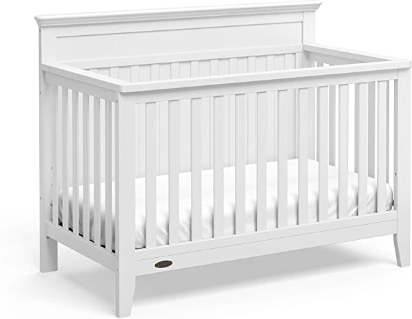 Graco Georgia 4 In 1 Convertible Crib White Easily Converts To Toddler Bed Daybed And Full Size Bed 3 Position Adjustable Mattress Support Base Rustic Style