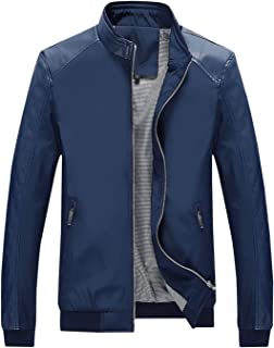 75f0ad10 Springrain Men's Casual Stand Collar Slim PU Leather Sleeve Bomber Jacket