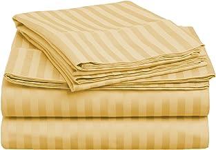 طقم ملاءات سرير من 3 قطع من القطن الممشط الممتاز بنسبة 100% بكثافة 400 خيط من Superior ، مخطط، مزدوج XL - ذهبي