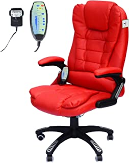 HOMCOM Vibrating Massage Heat Executive Home Office Chair Faux Leather Computer Swivel Recliner High Back for Adult, Red