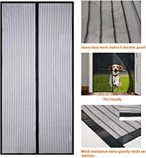 Upgrade Magnetic Screen Door Curtain, Heavy Duty Fiberglass Screen Door Mesh and Full Frame Mesh Fly Mosquito Curtain Fit 34'' x 82''Door Size Keeps Bugs Out