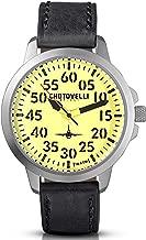 Chotovelli Men's Aviator Mecha-Quartz Watch Waterproof Vintage Leather Strap