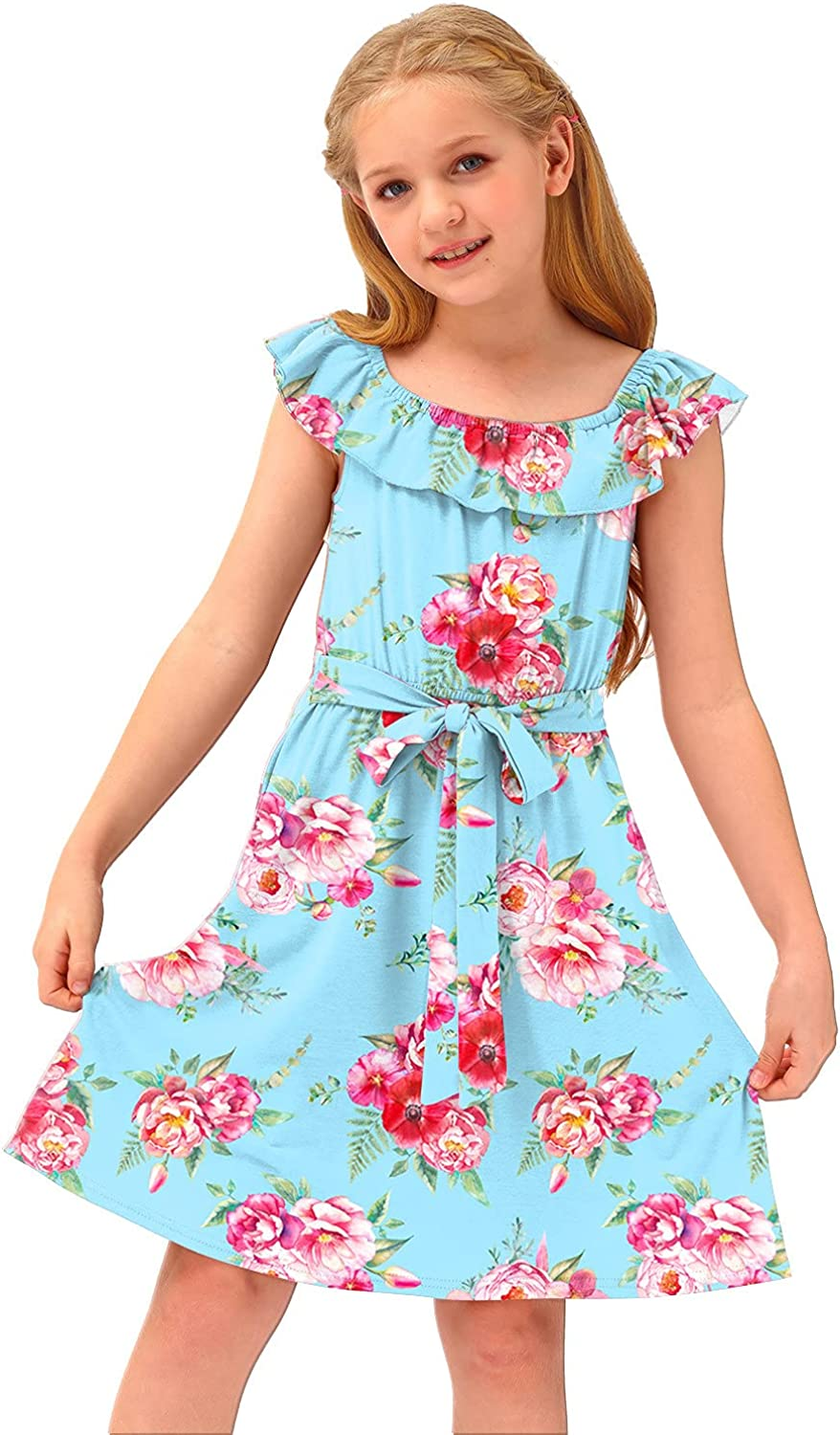 BesserBay Girl's Casual Ruffle Elastic Neckline Off Shoulder Floral Midi Dress 3-12 Years