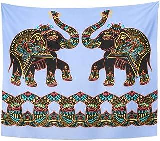 wekeke Tapiz exótico étnico Popular Elefante Pintura de Puntos tapices de Animales hindúes para Colgar en la Pared para Sala de Estar Dormitorio Dormitorio- (59x79 Pulgadas) (150x200cm)