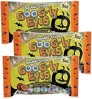 Chocolate Crisp Googly Eyeballs Halloween Candy by Palmer (3 pack bundle)
