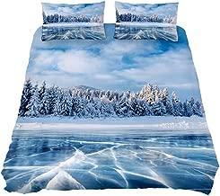 Brighter Cracks Frozen Lake in Winter Mountains Hills of Pines Carpathian Ukraine Europe Lightweight Bedding Duvet Cover Set Comforter Quilt Cover Zipper for Bedroom