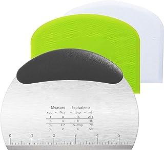 Roestvrijstalen deegsnijder, deegschraper, deegschraper, siliconen 3 stuks deegspatels, Dough Scraper Card spatelset voor ...