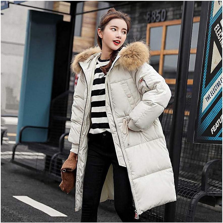 NANA Parka Women Winter Coats Long Cotton Casual Fur Hooded Jackets Women Thick Warm Winter Parkas Female Overcoat Coat White L