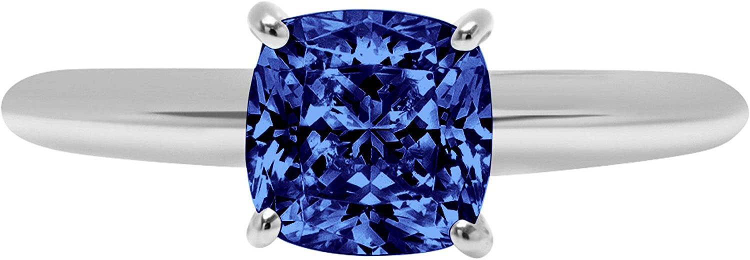 2.45 ct Brilliant Cushion Cut Solitaire Flawless Simulated CZ Blue Tanzanite Ideal VVS1 4-Prong Engagement Wedding Bridal Promise Anniversary Designer Ring Solid 14k White Gold for Women