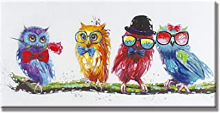 PICTURE IT ON CANVAS Colorful Owl Oil Wall Art Painting Decor Hand Painted Home Decor Artwork for Living Room Bedroom,Ready to Hang 8X16 Inch